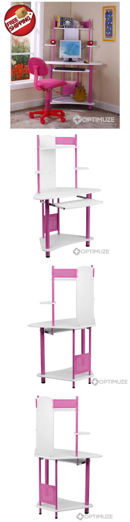 Desks 115750: Kids Corner Desk Pink Girls Bedroom Furniture Computer  Writing Student Table ->