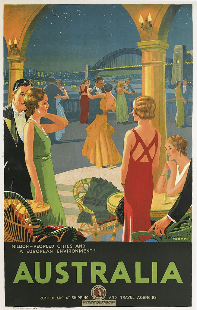 Sale 2326 Lot 56, Swann Galleries PERCY TROMPF,  AUSTRALIA / MILLION - PEOPLED CITIES AND A EUROPEAN ENVIRONMENT! Circa 1935. Estimate $5,000 - 7,500