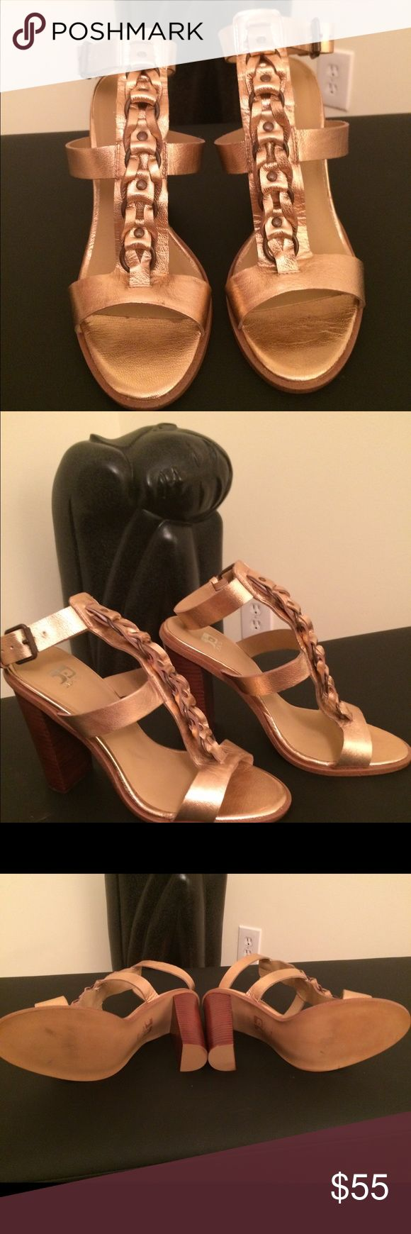 "Shoes by Joe, woven leather in Rosegold. Stylish Sandal in fashionable Rosegold color, ""never worn"" The hottest new color. Although never worn, no tags available. Joes Shoes Sandals"