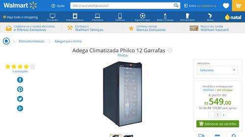 [Wal-Mart] Adega Climatizada Philco 12 Garrafas 237682 por R$ 549,00
