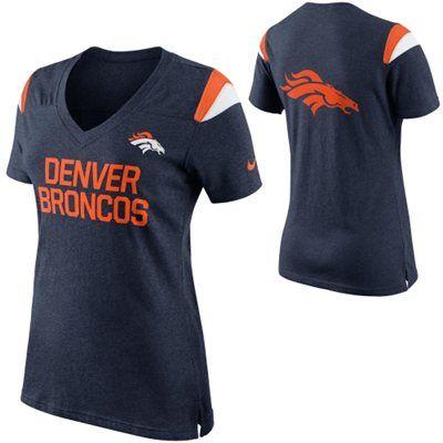 Women's Denver Broncos Nike Navy Blue Fan Top V-Neck T-Shirt