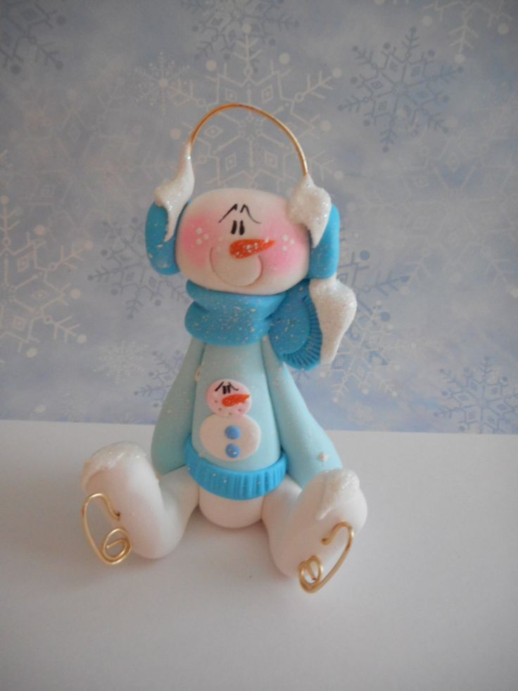 Polymer Clay Snowman Wearing a Snowman Sweater and Skates - FIGURINE - pinned by pin4etsy.com