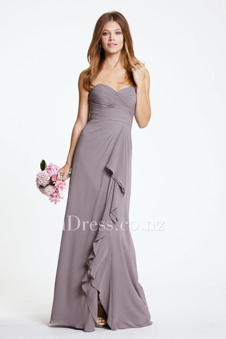 Stone Chiffon Ruffled Long Bridesmaid Dress. bridesmaid dresses nz,bridal party dresses new zealand #bridesmaidsdresses  #bridesmaiddresses