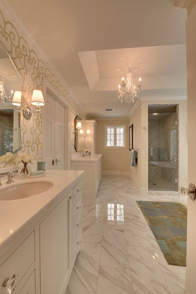 Gallery For Website Chic marble bathroom with classic wallpaper and chandelier