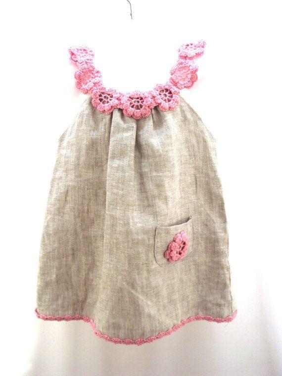 Vestido de lino orgánico túnica vestido del ganchillo de la cosa para el bebé / niños / niña de cualquier tamaño