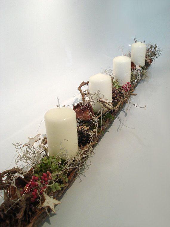 """100 cm-long advent arrangement """"Forest"""" advent wreath, Christmas flower arrangements, table decorations"""
