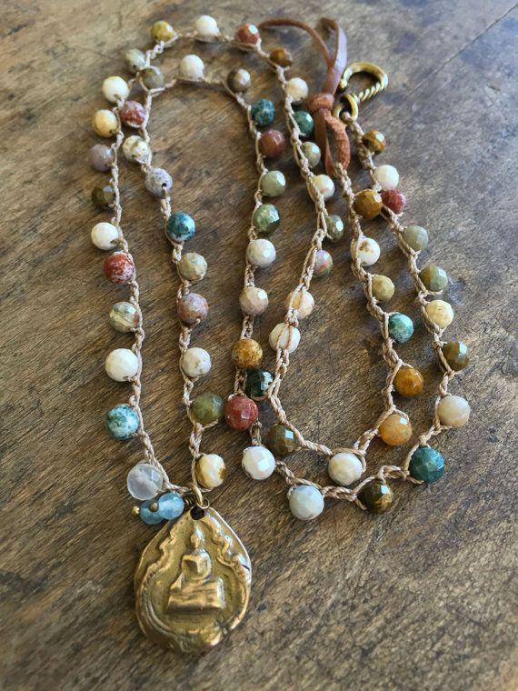 Buddha Crochet Necklace Gemstone Bohemian by TwoSilverSisters