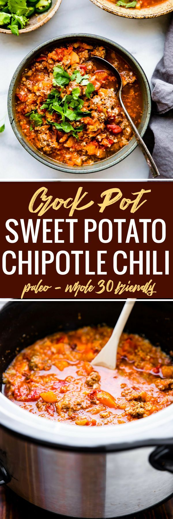 Crock Pot Paleo Sweet Potato Chipotle Chili! This beanless chipotle chili recipe is healthy but hearty, with an extra kick of spice! Made with simple ingredients you probably already have in your fridge! An easy whole 30 and paleo friendly chili made in the crock pot so you can be ready to serve with little effort.  #paleo #crockpot #chili