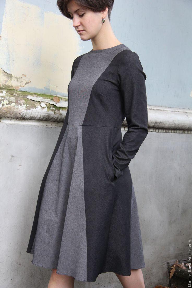 Купить Вещь № 156 - темно-серый, однотонный, приталенное платье, Широкая юбка