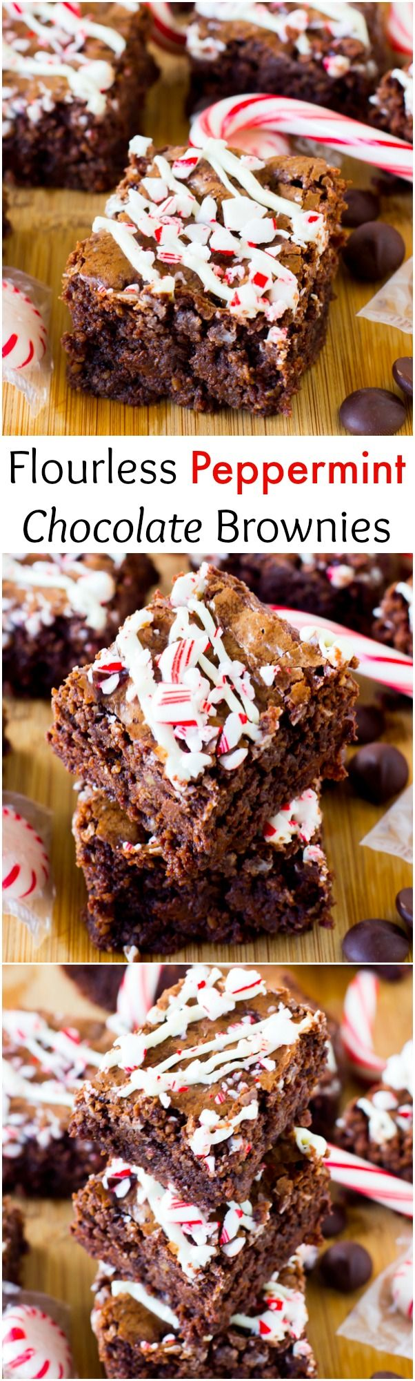These Flourless Peppermint Chocolate Brownies are incredibly chewy, fudgy and full of chocolate and drizzled with white chocolate. They are SO decadent! #brownies #flourless #peppermint #chocolate #Christmasdesserts #glutenfree