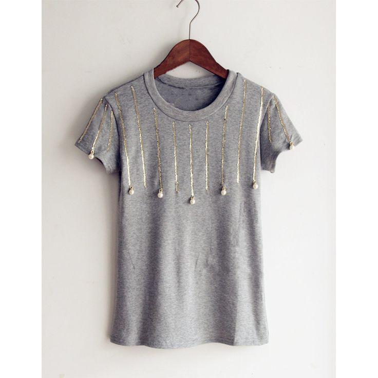 ropa mujer camisas femininas 2016 pearl sequin Korean Slim short-sleeve T-shirt kawaii clothes blusa vetement femme t shirt tops //Price: $US $8.99 & FREE Shipping //     #bags