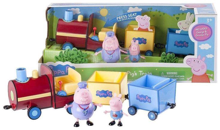 Peppa Pig 92601 Grandpa Train Toy. Features Grandpa Pig & George figurines. Music and Sounds Train. Bonus Cardboard cutout of Peppa & Rebecca Rabbit included. For age 3+.