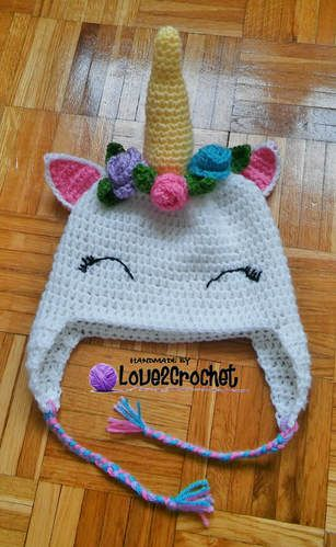 Crochet Unicorn Ear Flap Hat - awesome free pattern!