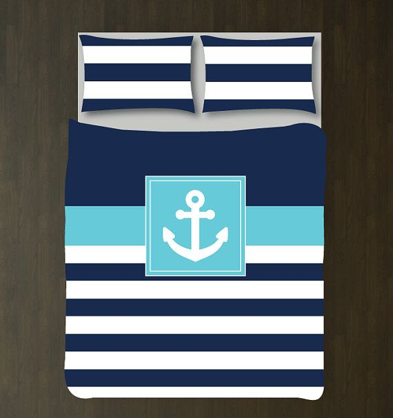 "Add a custom touch to your child's bedroom or your own, by ordering our nautical anchor duvet cover set. You can customize the colors with any of the colors from our palette. Please leave us a message when you checkout with your color choices. If no message is left, we will assume you want the duvet set as shown in the first photo. Sizes: Daybed Duvet: 88""x68"" (We turn the design of the twin sideways. You will need to tuck the duvet in at the back, as it would hang down too far in the f..."