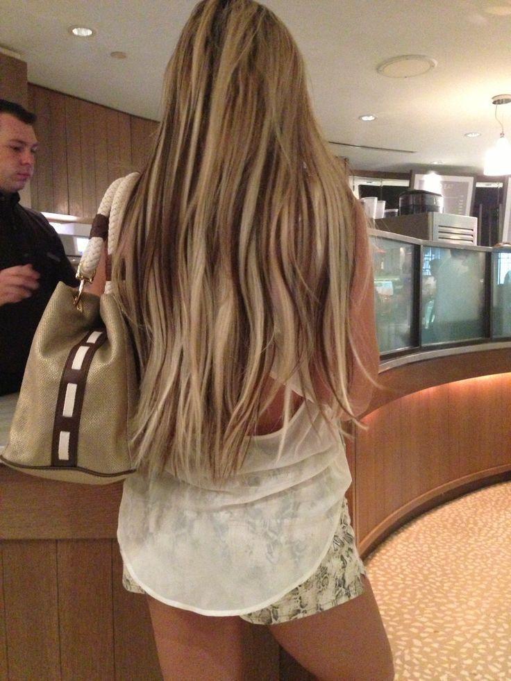 Light blonde hair with dark brown peekaboo lowlights. ️ ...