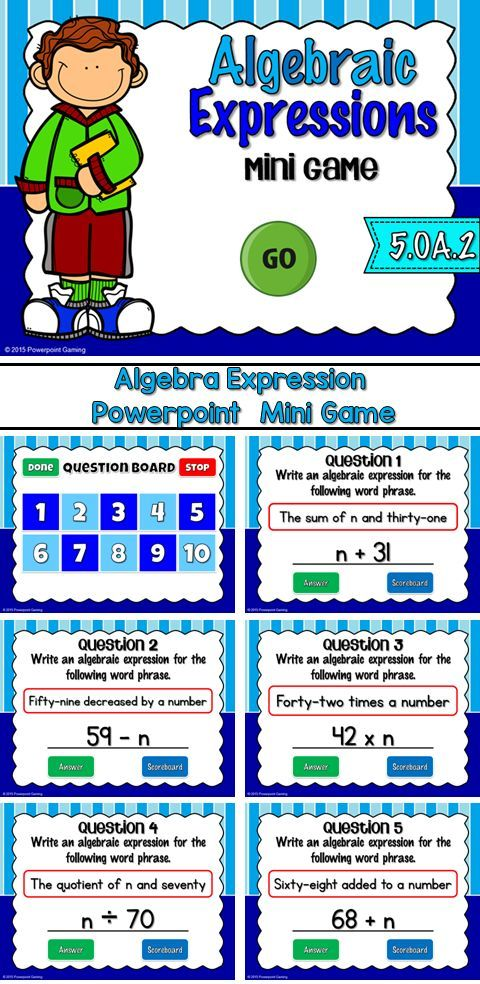 Engage students with this fun, interactive algebra game. In this mini game, students must translate the algebra expression into an equation. There are 10 questions and you just click on each question to go to it.