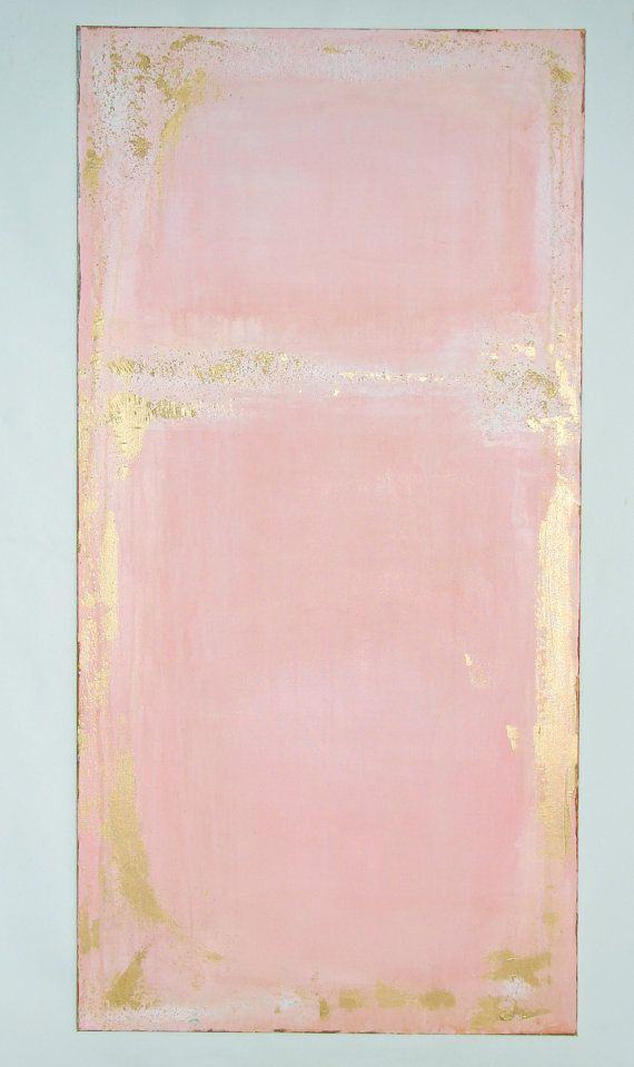 PINK ABSTRACT PAINTING  Pink with whitish leak & stain look, gold, and light mint frame by TLB   Abstract Art Large by CherylWasilowArt