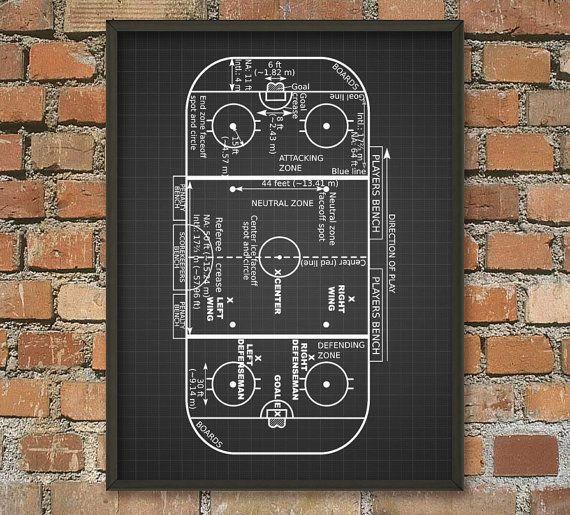 Eis-Hockey Rink Print Ice Hockey Spiel Zonen von QuantumPrints