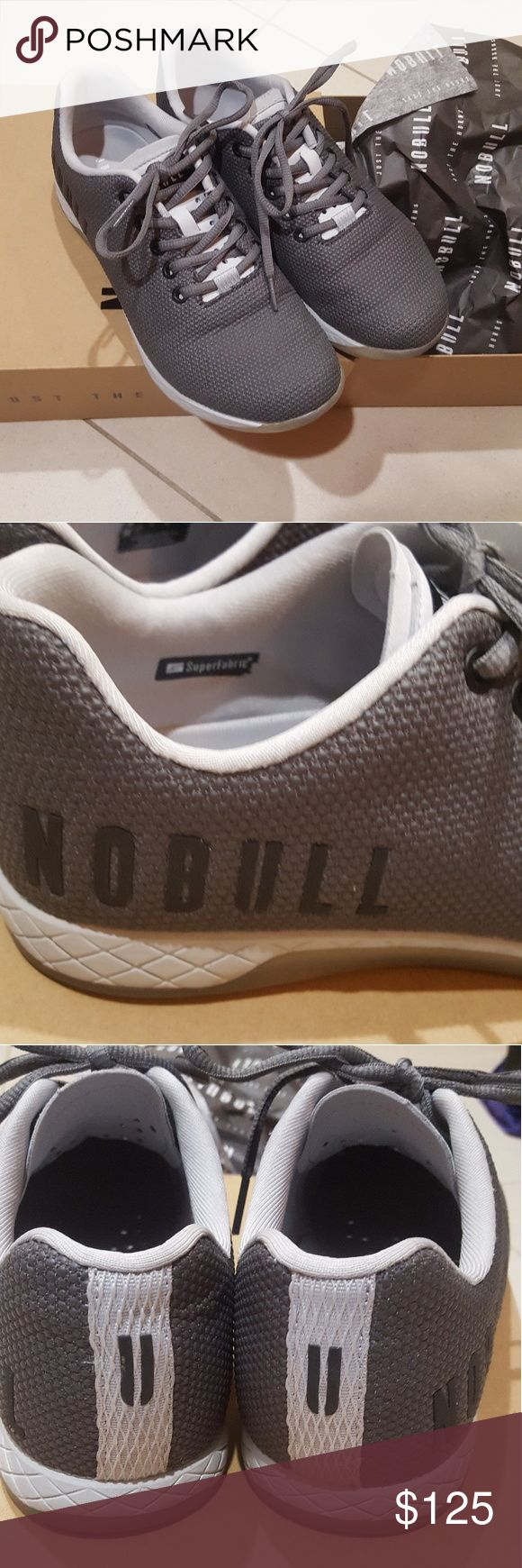 NoBull Trainers in Slate Grey 8.5 (Fits an 8) Brand new NoBull Trainers in Slate Grey. This is a new color, released October 10th and already sold out. Size 8.5 ladies. Runs small.  I received this afternoon (10/18) wore for one workout, and realized my toes were a little crowded....so that's why these are going up for sale. Will ship to you in original box with the tag, and extra green laces. You can't get these anywhere else! NoBull Project Shoes Athletic Shoes
