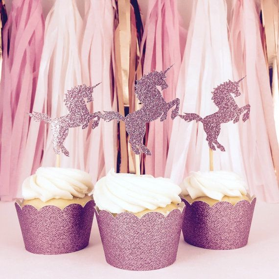 Unicorn Cupcake Toppers Pink Glitter Party by CloverandBloomCo