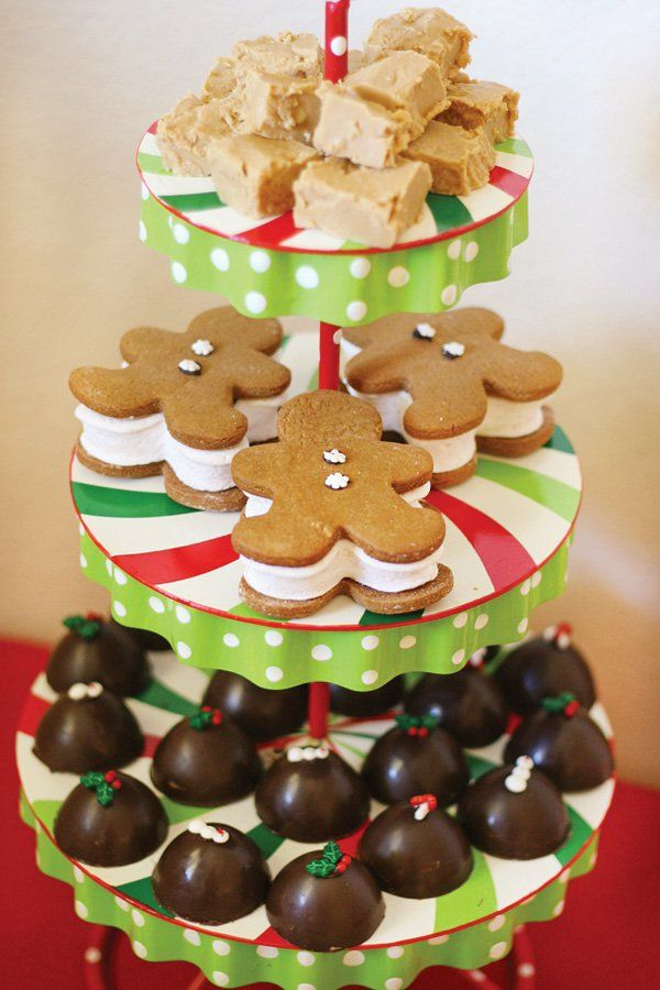 gingerbread cookie sandwiches, chocolate bon bons and maple fudge