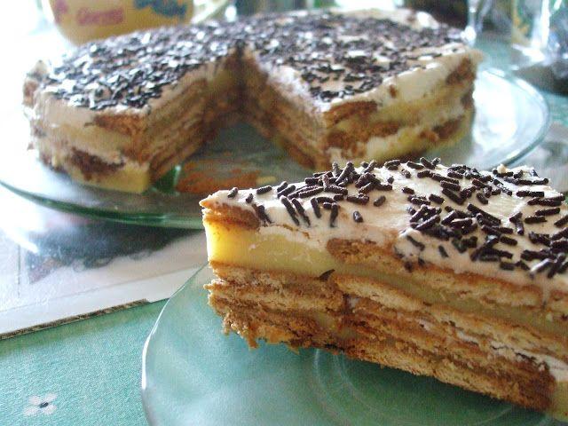 Receitas práticas de culinária: Bolo de bolacha com pudim e natas