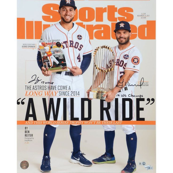 "Jose Altuve & George Springer Houston Astros Fanatics Authentic Dual-Signed 16"" x 20"" Wild Ride Sports Illustrated Photograph with Multiple Inscriptions – Limited Edition of 50  – Astros"