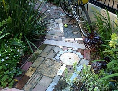 salvaged materials -garden path