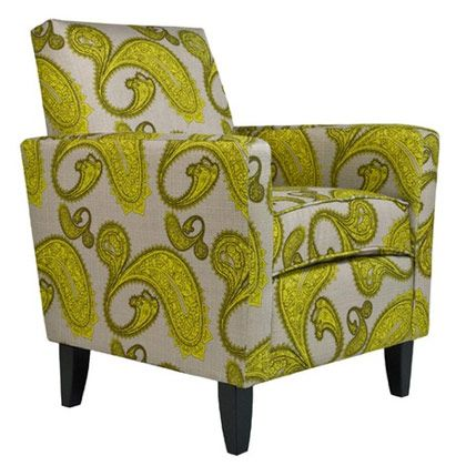 Bright Yellow Paisley Club Chair