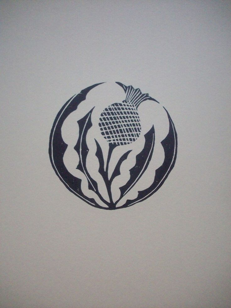 Thistle - linoleum block print - Sharon Lorenz, U.S.A.