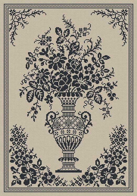 Monochrome Vintage Floral Vase Counted Cross Stitch Pattern PDF