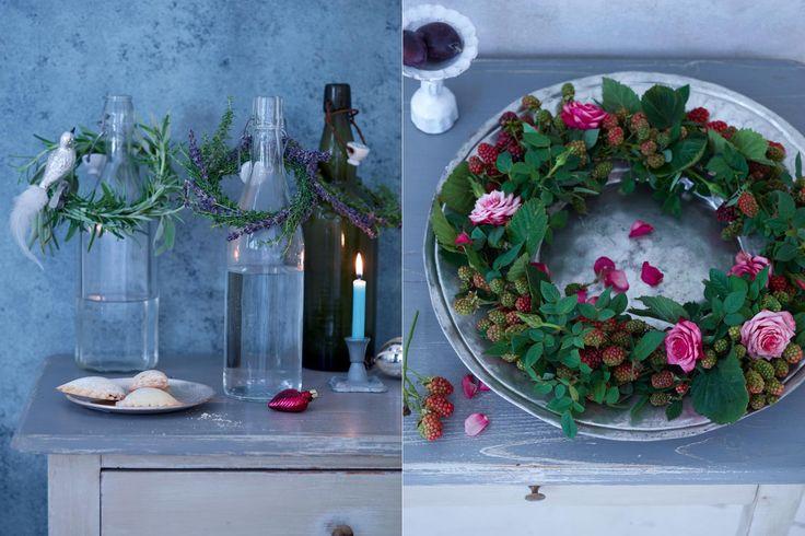 Couronnes de fleurs à poser ou à suspendre : couronne de lavande et magnifique couronne de rose sauvage et de mure sauvage  { Mary Posy aime ! }