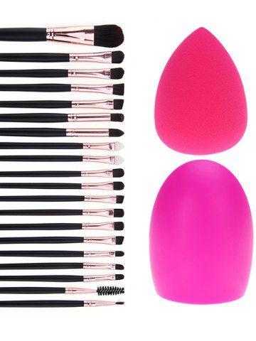 BLACK 20 Pcs Fiber Eye Makeup Brushes Set + Makeup Sponge + Brush Egg
