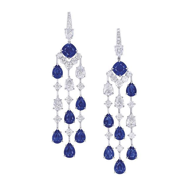 Ronald Abram Stunning Sapphire and Diamond Chandelier Earrings.