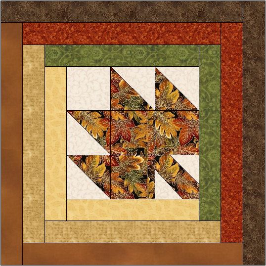 Maple Leaf Log Cabin Quilt Block Pattern by QuiltBlocksByAutumn