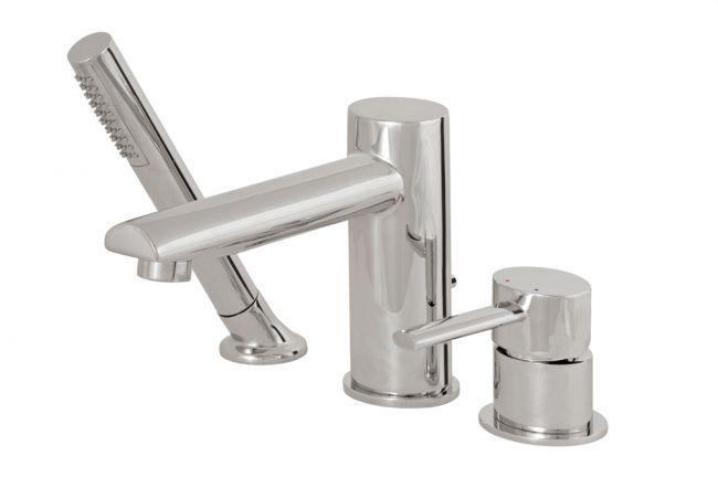 Aquabrass's contemporary 3-piece deck mount tub faucet / Kiki Collection