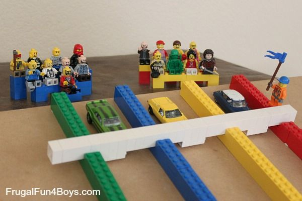 DIY Build a Lego Racetrack for Hot Wheels Cars or Lego Racers. With real Lego Race Lanes for your Cars. You can release all the Cars at once! Don't forget the crowd!