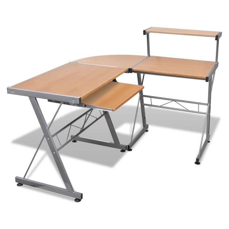 Student Computer Desk Corner Laptop Pc Furniture Home Office Table Brown Modern