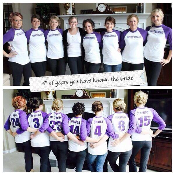 Make shirts for a casual bachelorette party that has each bridesmaid's name and how long you've been friends on the back