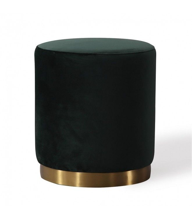 Miraculous Deep Green Round Velvet Ottoman Gold Metal Base Ottoman Machost Co Dining Chair Design Ideas Machostcouk