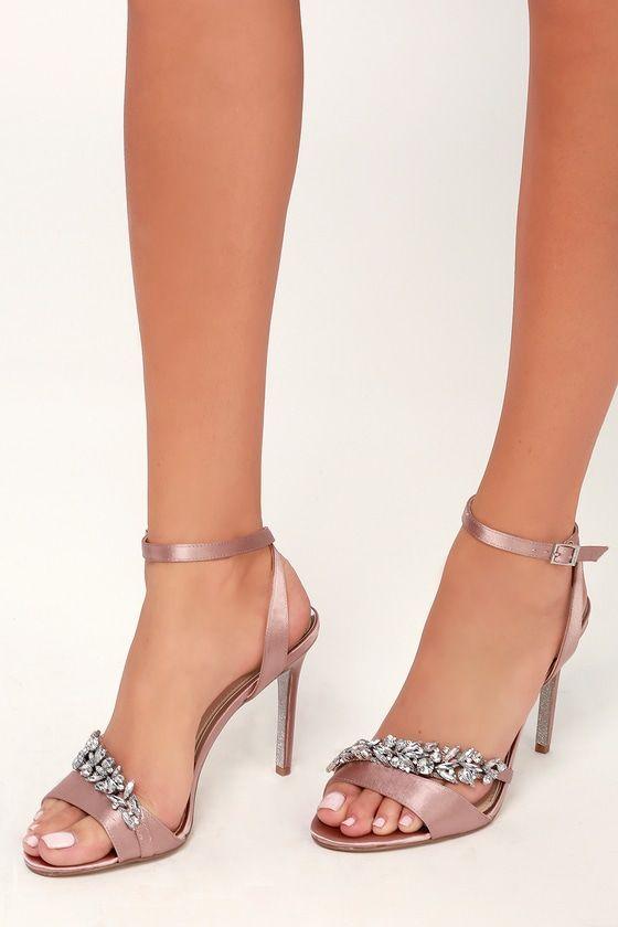 9b514a2b53f Merida Blush Satin Rhinestone Ankle Strap Heels