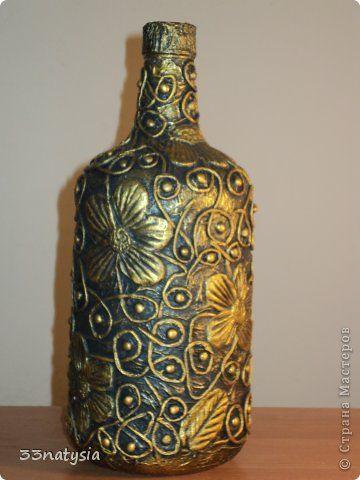 Декор предметов Аппликация из скрученных жгутиков бутылек и вазочка Бутылки стеклянные Краска фото 1