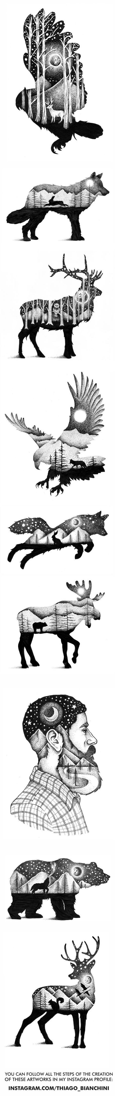 Tatto Ideas 2017 – Double exposure illustrations using stippling technique. Some of them were used …