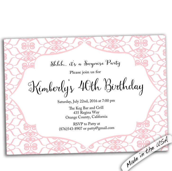 New to CupidDesigns on Etsy: 40th birthday party invitation. 40th Birthday invitation. Female 40th birthday invitations. Any age birthday invite. Printable or printed. (18.00 USD)
