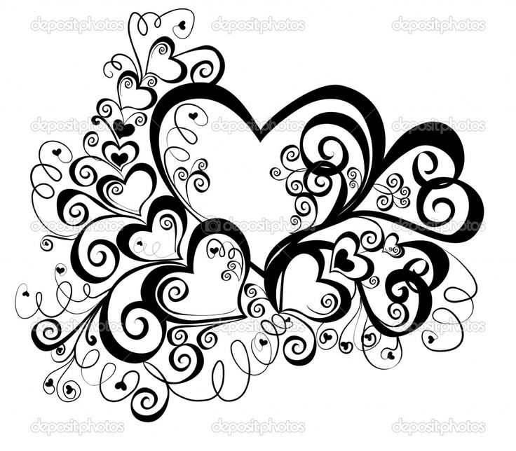 Heart Coloring Pages For Teenagers | Heart with floral ornament, vector | Stock Vector © marina99 #2428439