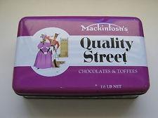 VINTAGE MACKINTOSH QUALITY STREET PURPLE CHOCOLATES & TOFFEES TIN ADVERTISING
