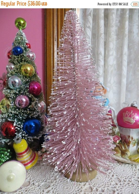 ON SALE Vintage Pink Christmas Bottle Brush by FleaMarketFloozie