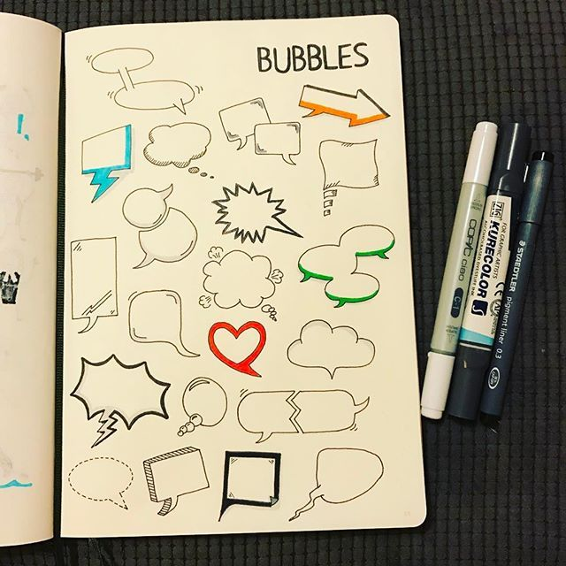 via @morganhlane on Instagram  @therevisionguide Speech & thought bubbles, always useful and used all of the time! #revisionguide_52wvv #52wvv_week8 #doodles #sketching #cartoons #sketchnotes #visualthinking #leuchtturm1917 #copicmarkers #kurecolor #graphgear1000