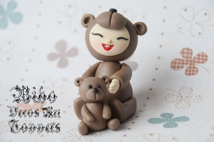 Edible 3D Baby In Teddy Bear Costume With Mini Teddy Bear Cake Decoration Fondant Topper , Birthday Cake Topper by BiboDecosArtToppers on Etsy