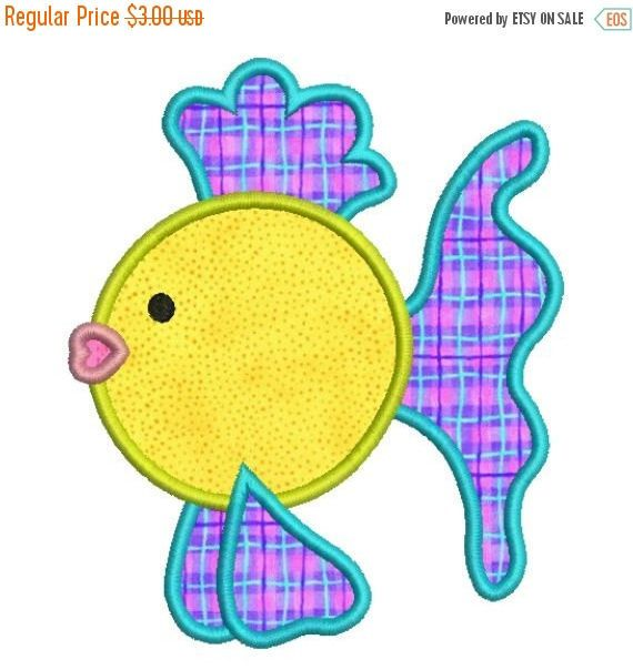 SALE 65% Off Applique Tropical Fish Machine Embroidery Designs 4x4 & 5x7 Instant Download Sale